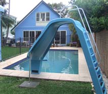 01 Fibreglass 4 Leisure Pool Slide Blue